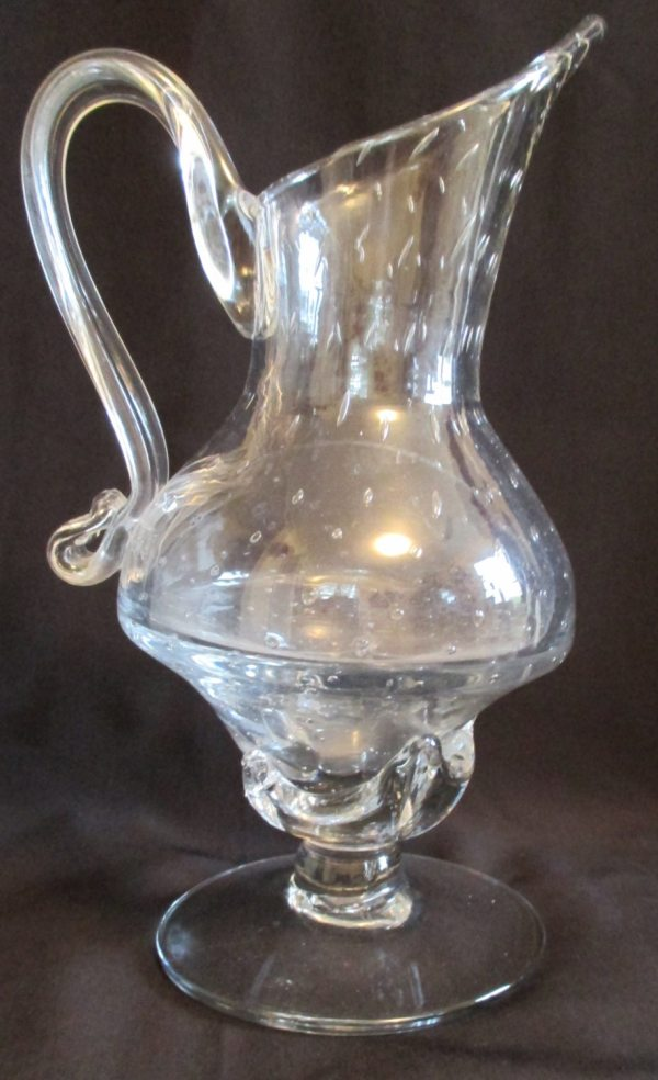 Hand Blown Bubble Glass Pitcher Vase w Hand by ...