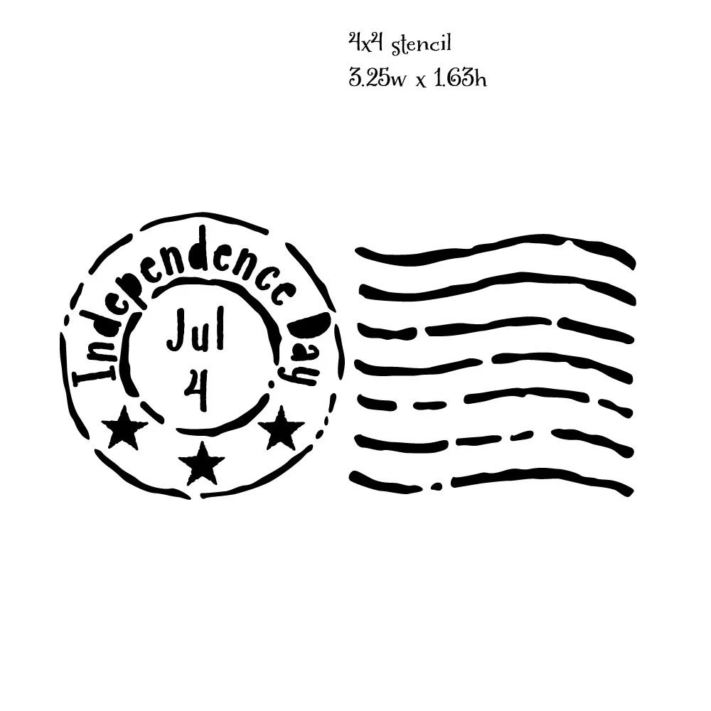 Postmark08: Reusable 7MIL Laser-Cut Stencil Independence Day