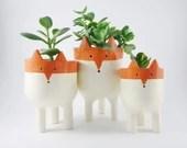 Fox Planters -Three Ceramic Fox Plant Pots - Garden