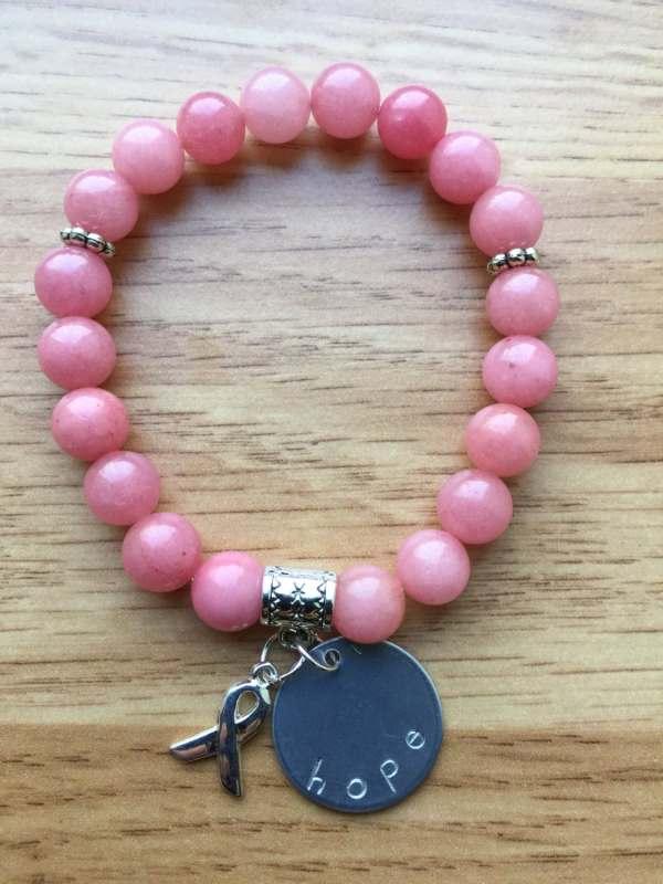 Hope Bead Bracelet Breast Cancer Survivor Pink Ll45
