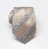Mens Tie. Wedding Neckties Tan Taupe Cream Stripe Mens Tie.
