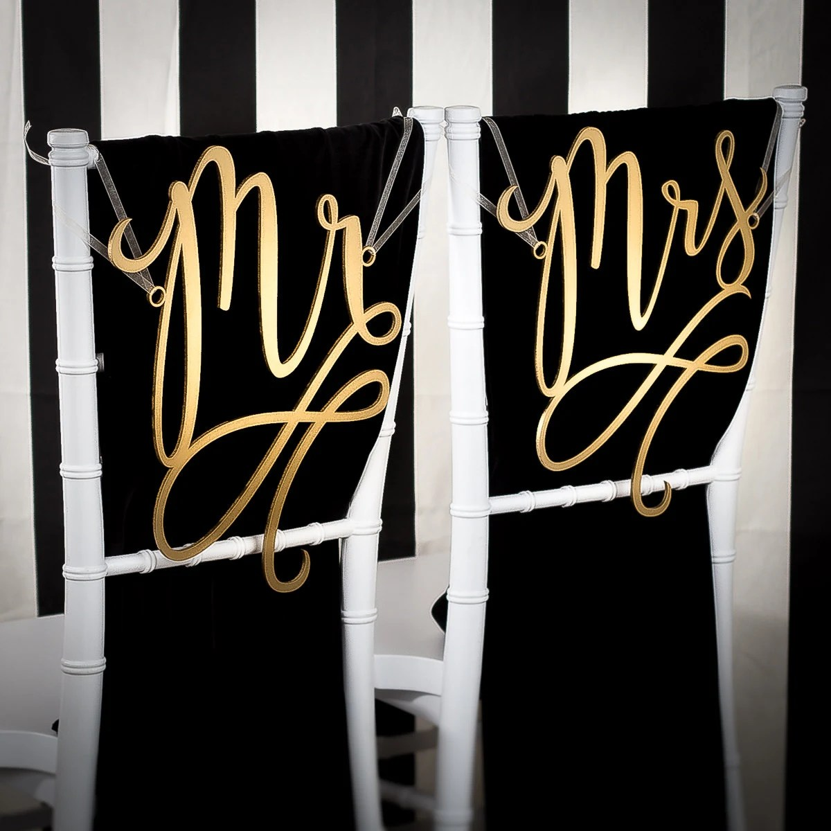 mr and mrs chair signs metal frame leather dining wedding decoration joyful