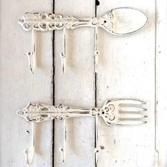 Kitchen Towel Hooks Decorative Red Aid Mixer Decor Shabby Chic Spoon