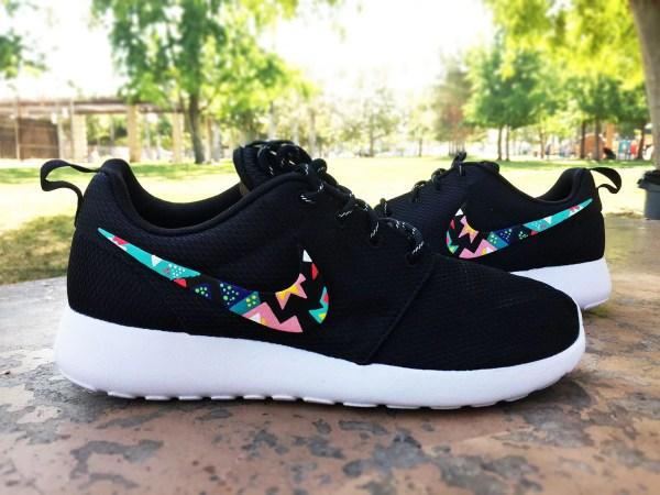 Womens Custom Nike Roshe Run Sneakersteal And Hot Pink