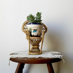 Chair Planter Stand Best Gaming For Big Guys Vintage Mini Wicker Peacock Plant