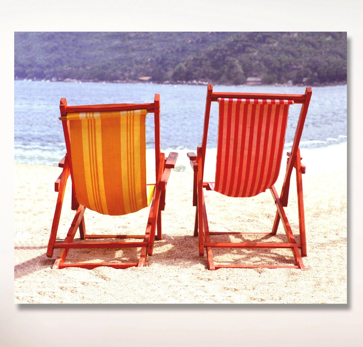 vintage beach chairs at pier one yelapa mexico photo