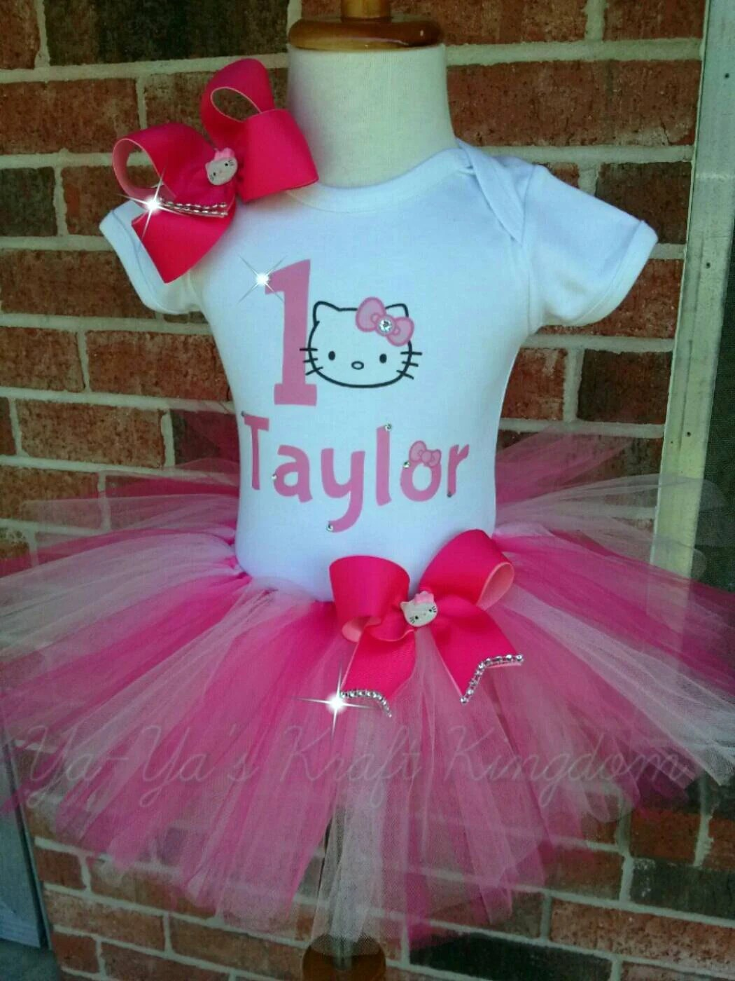 Bling Hello Kitty Tutu Outfit With Matching By