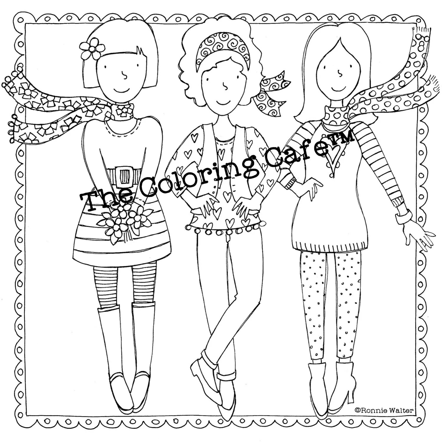 The Coloring Cafe™ Coloring Book for Grown-Up Girls Adult