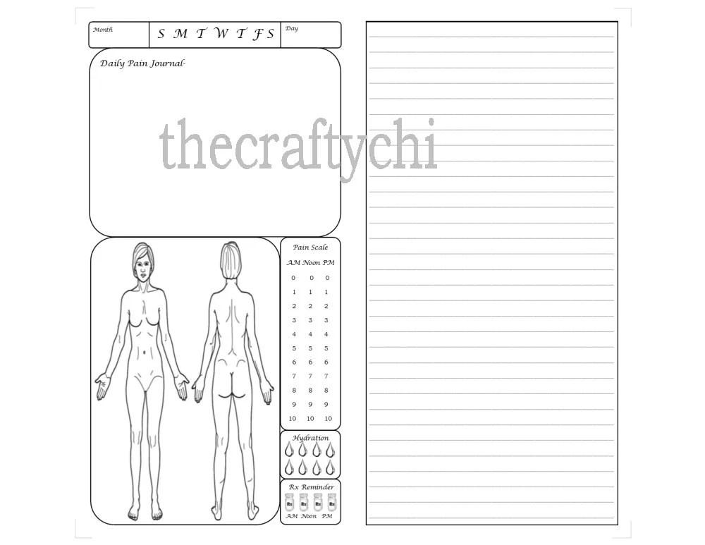 Female Pain Journal for TN Traveler's Notebook Midori