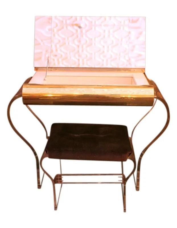 Vintage lucite vanity amp stool haute juice