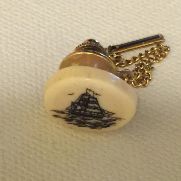 Antique Scrimshaw Tie Pin Ship by MySweetPickins on Etsy