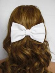 white hair bow clip women teens