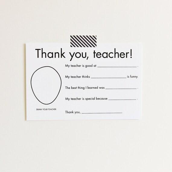 Thank You Card for Teacher Gift for teacher card Teacher