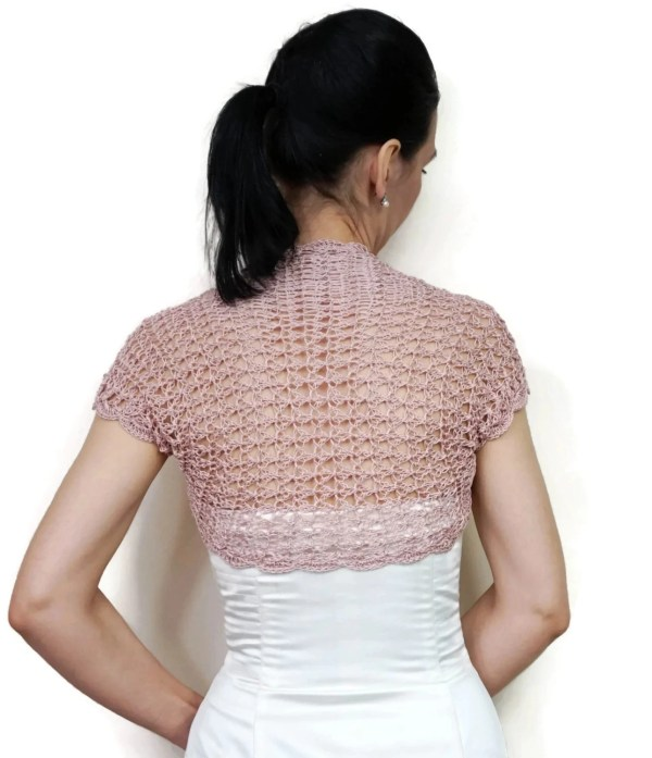 Dusty Pink Bolero Shrug Summer Jacket Crochet