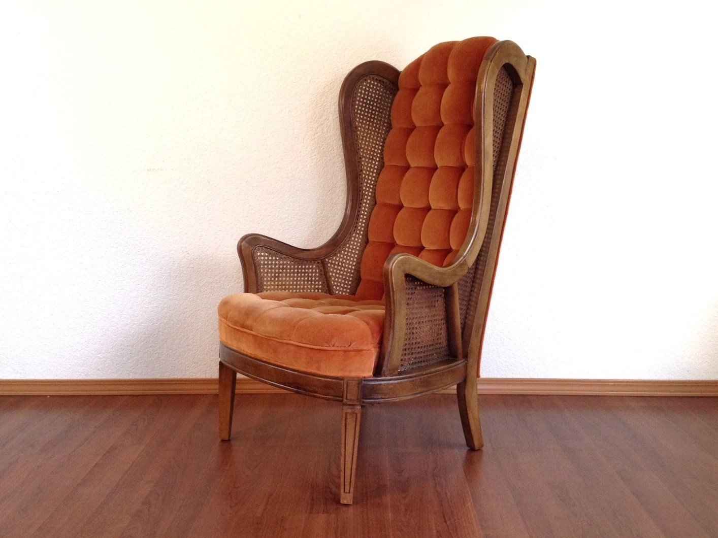 Retro Wing Chair Vintage Cane Wingback Chair With Tufted Back And Seat By