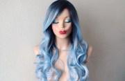 dark roots pastel silver blue wig