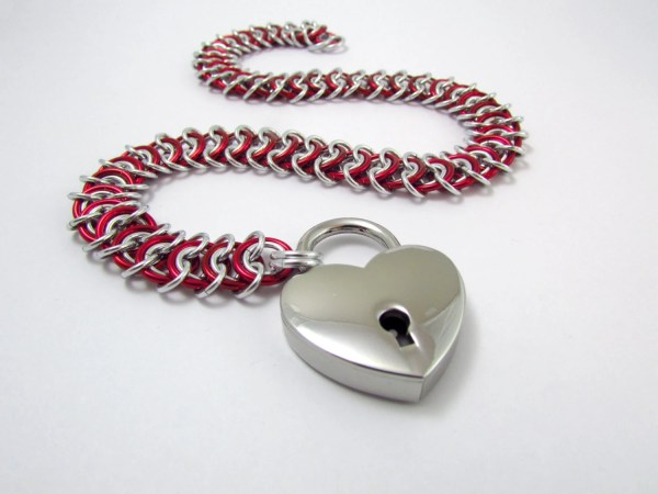 Collar In Red And Silver With Heart Padlock Handmade Slave