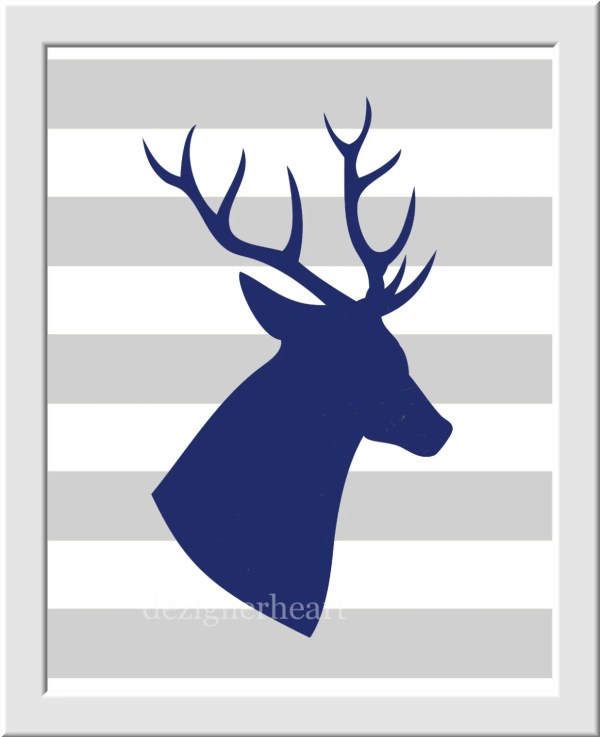 Boy Nursery Art Deer Navy Blue Gray Tree Silhouette Antler