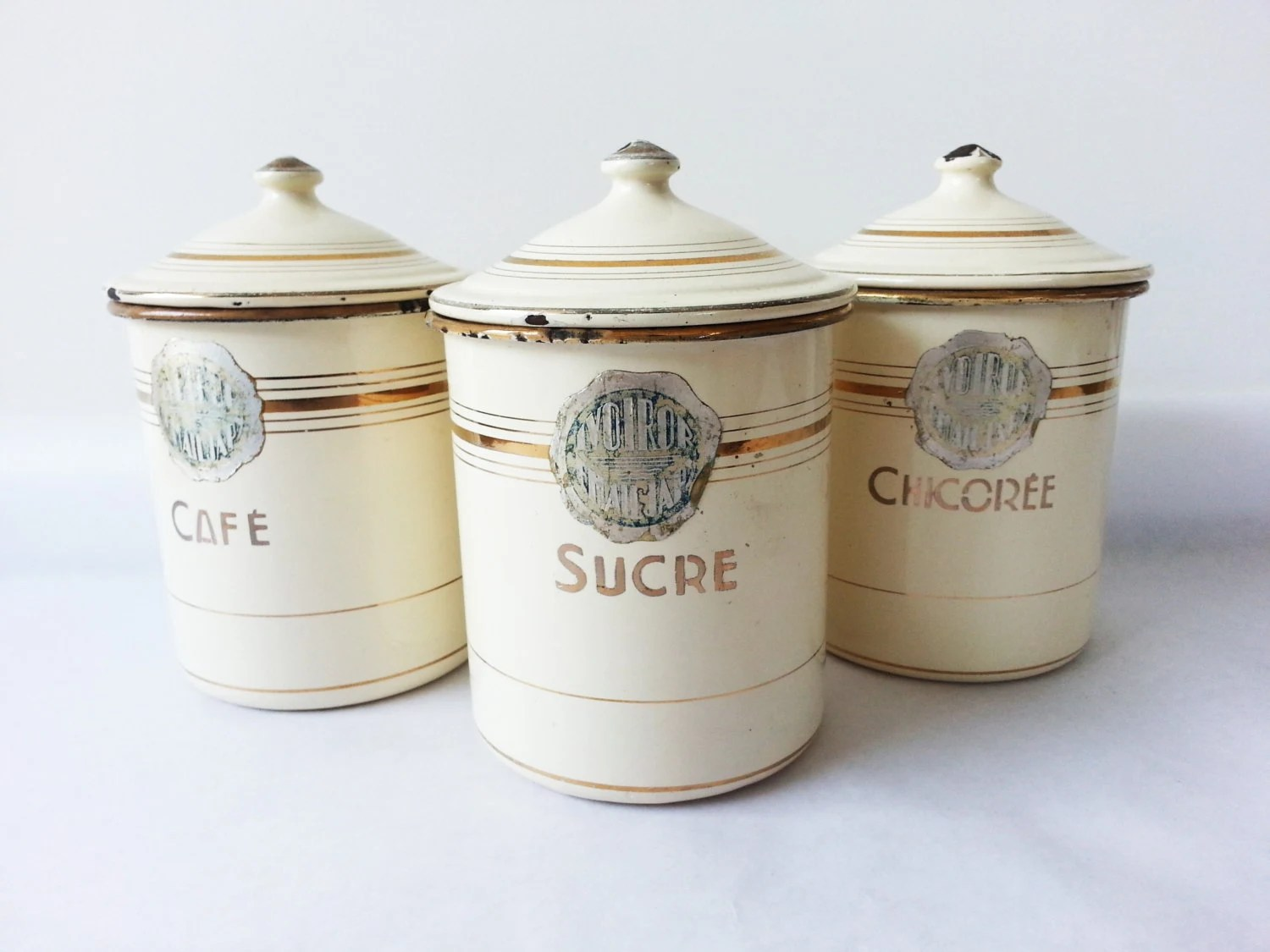 kitchen canisters french 1940 s kitchen canisters set enamelware 12965