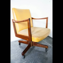 Swivel Chair Mustard Yellow Rental In Chicago Mid Century Modern Office Gunlocke Co Armchair Wood