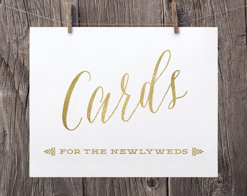8x10 Printable Wedding Signs Wedding Cards For the Newlyweds