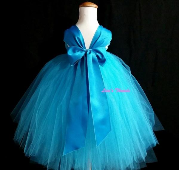 Turquoise Flower Girl Dress Blue Lisasthreads