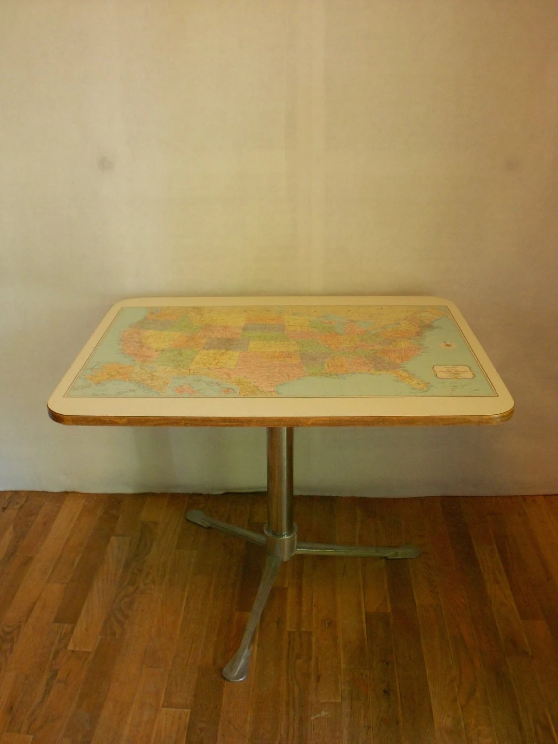 outdoor aluminum chairs office chair no wheels uk vintage usa map table from camper trailer with original tripod