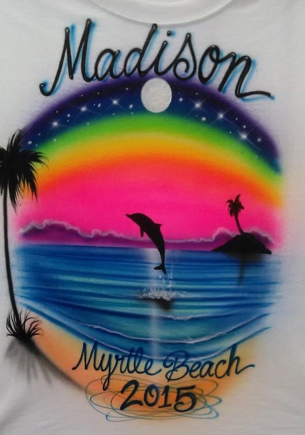 Custom Airbrushed T-shirt Sunset Beach Scene