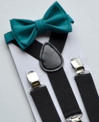 Bow Tie Suspenders Black Suspenders & Teal Bow Tie Ring