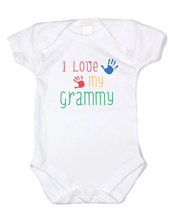 I Love Grammy 100% cotton 7.5 knit means baby stays