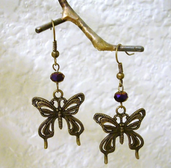 Brass Butterfly Vintage Style Earrings With Purple Ab Stones
