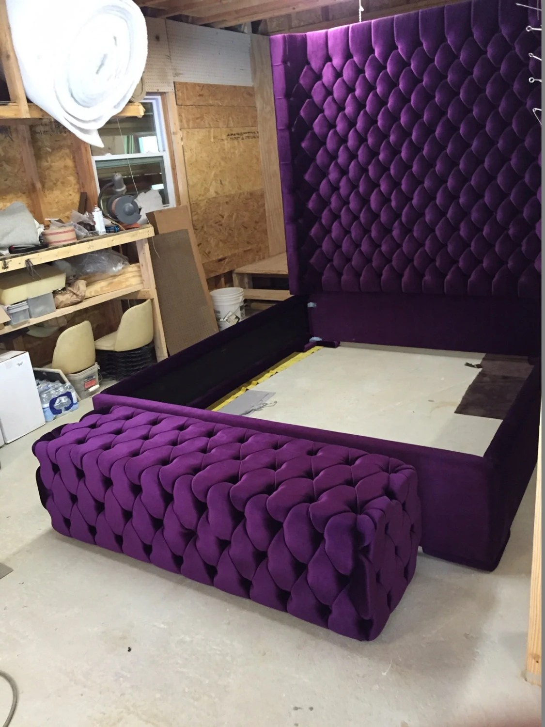 purple velvet upholstered sofa best made sofas in usa wingback tufted bed king size queen full wing back