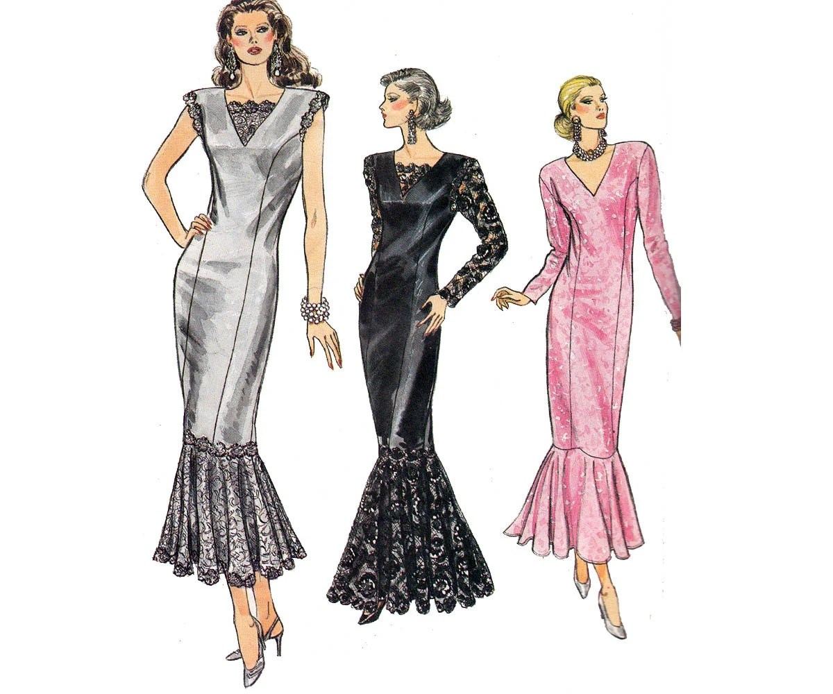 80s Fishtail Cocktail Gown Pattern Vogue 9891 Mermaid Flounced