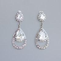 Bridal Chandelier Earrings CLIP ON Earring Option Crystal