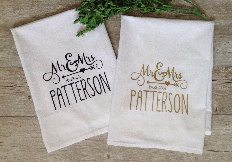 personalized kitchen towels aid ice maker tea towel custom wedding gift housewarming