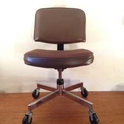 Desk Chair Retro Storage Cart Office Vintage Cushioned Chrome Brown