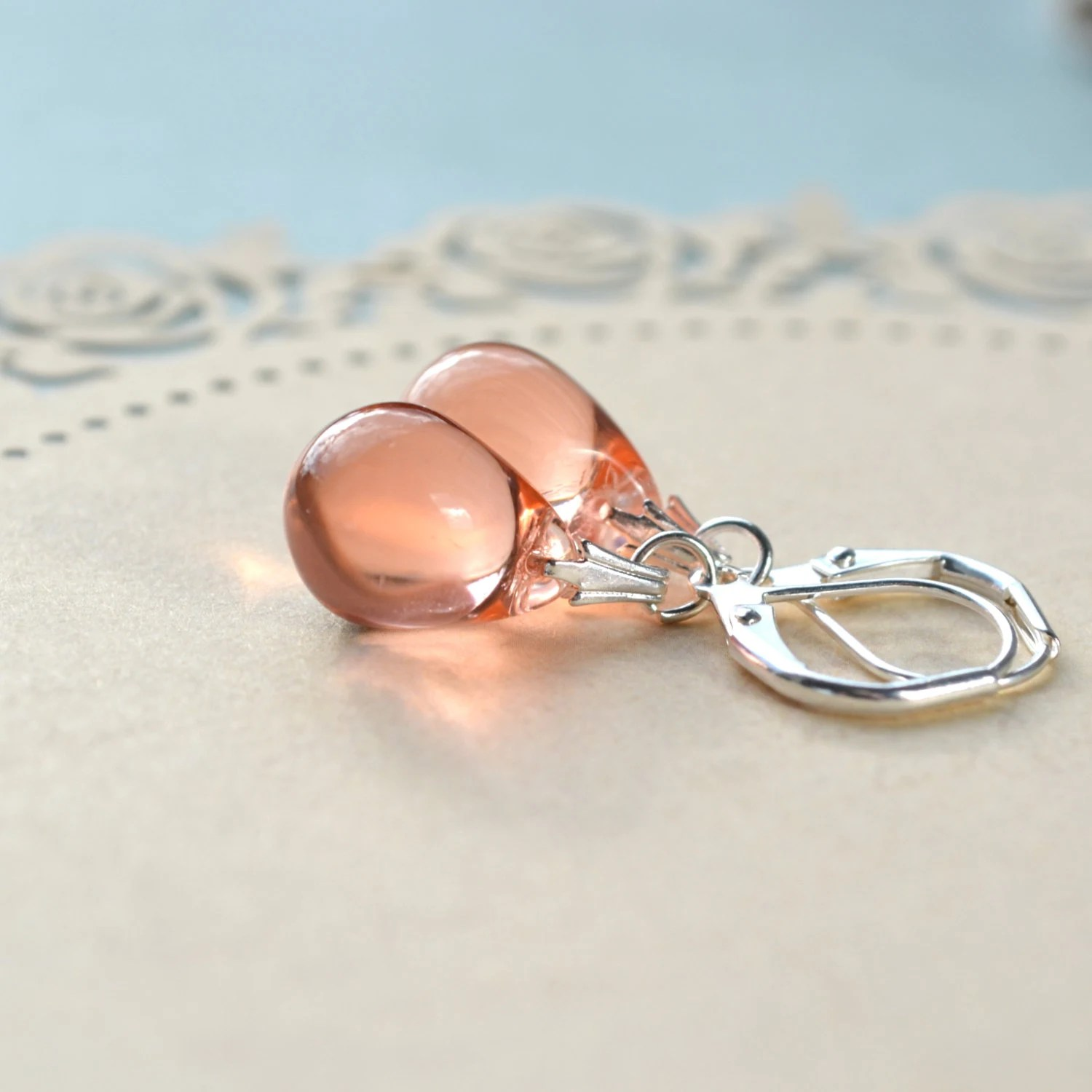 Peach Earrings Teardrop Earrings Peach Drop Earrings Peach