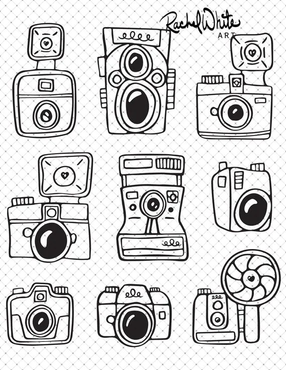Cameras Digital Stamp PNG 8x10 300 dpi grouping by