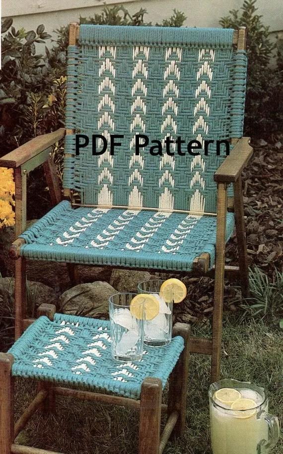 Hippie Macram Chair and Footstool Vintage 1980s