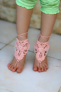 Peach Crochet Baby Barefoot Sandals Wedding Zhavi