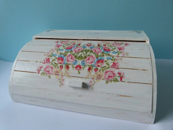 White Shabby Chic Roses Roll Top Wooden Bread Box Decoupaged