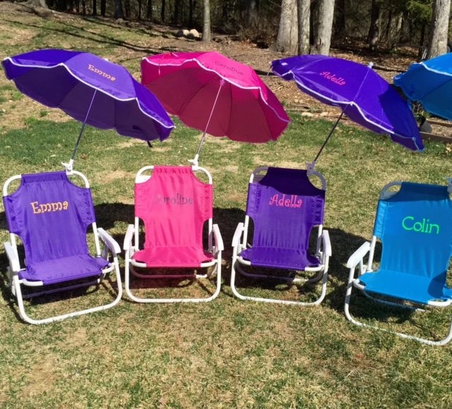 Childs PERSONALIZED Beach Chair with umbrella Sand