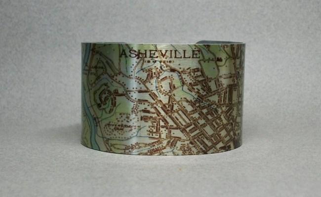 Asheville North Carolina Vintage Map Cuff Bracelet Unique Gift