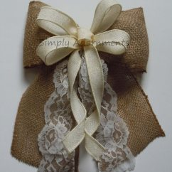 Burlap Bows For Wedding Chairs Eames Plywood Lounge Chair Replace Shock Mounts Ivory Lace And Bow Vintage