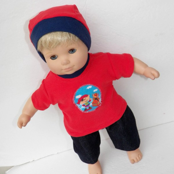 Handmade Bitty Baby Clothes Twin Boy Doll 15 Red Pirate