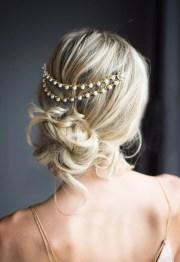 gold pearl bridal hair chain wedding