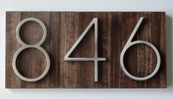 Modern House Numbers Plaque Stained Wood