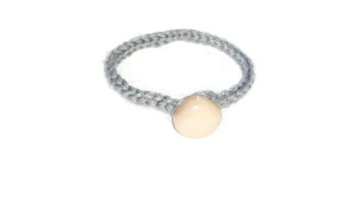gray/silvery crochet yarn anklet feet jewelry by