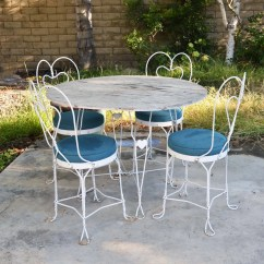 Ice Cream Table And Chairs Nursing Chair Australia Vtg White Mid Century Wrought Iron