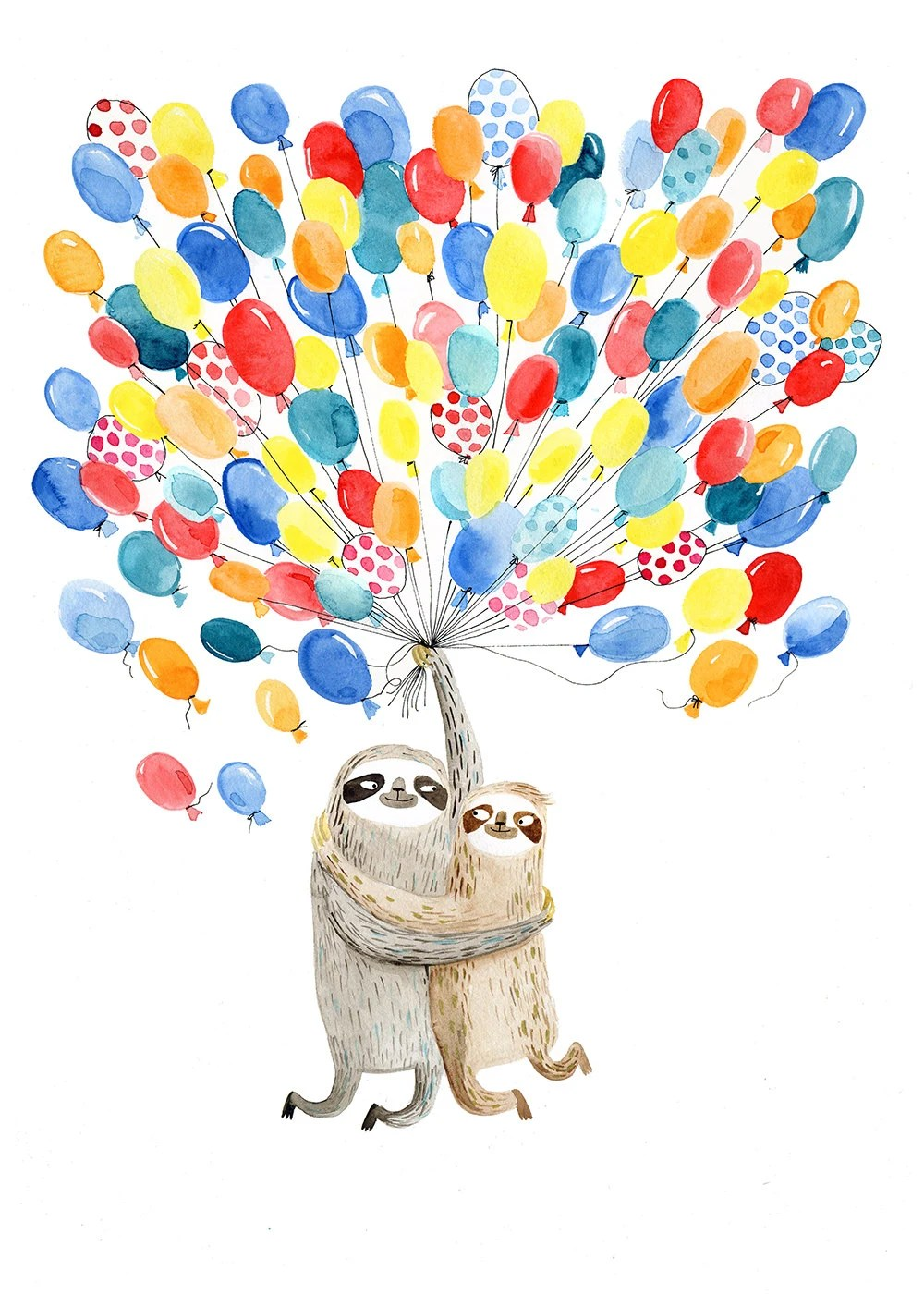 Super Duper Cute Wallpapers Flying Balloon Sloths A4 Print Sloth Couple In By Surfingsloth